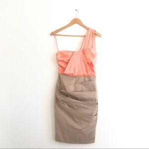 Asos Peach Ruched 1 Shoulder Dress Sz 4